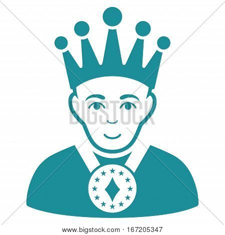 King vector icon. Flat soft blue symbol. Pictogram is isolated on a white background. Designed for web and software interfaces.
