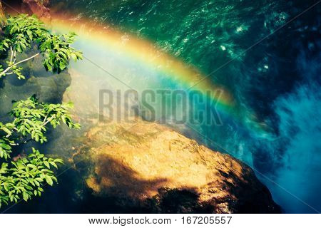 rainbow over rocks and river in the vintgar gorge near bled, slovenia