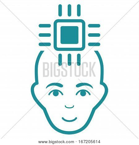 Neural Computer Interface vector icon. Flat soft blue symbol. Pictogram is isolated on a white background. Designed for web and software interfaces.