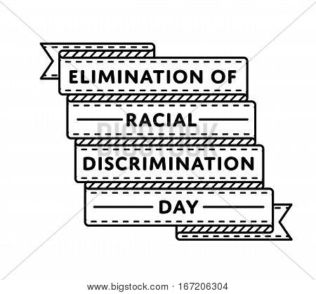 Elimination of racial discrimination day emblem isolated raster illustration on white background. 21 march world holiday event label, greeting card decoration graphic element