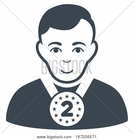 2nd Prizer Sportsman vector icon. Flat smooth blue symbol. Pictogram is isolated on a white background. Designed for web and software interfaces.