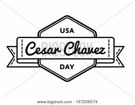 Cesar Chavez day emblem isolated raster illustration on white background. 31 march USA patriotic holiday event label, greeting card decoration graphic element