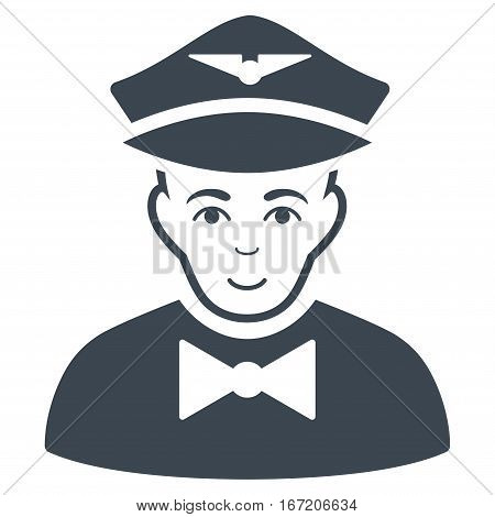 Airline Steward vector icon. Flat smooth blue symbol. Pictogram is isolated on a white background. Designed for web and software interfaces.