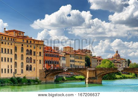 The Ponte Santa Trinita Over The Arno River In Florence, Italy
