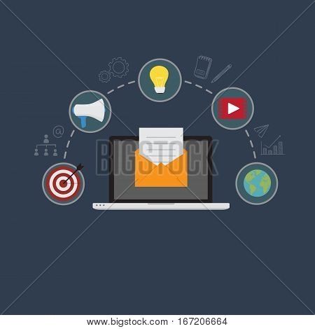 Email Marketing Illustration, Laptop With Email Document On Yellow Envelope, With Digital Marketing Icon