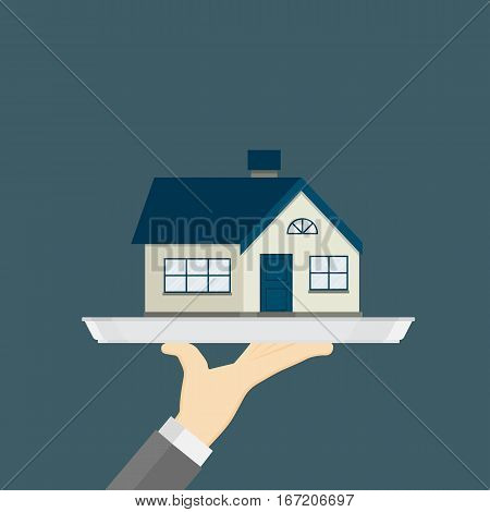 Sell The Property Illustration, Hand Holding Tray With Property