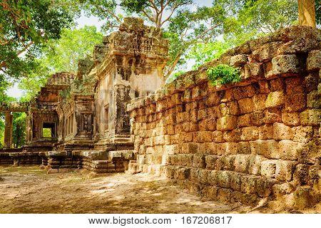 Side View Of Ta Kou Entrance In Angkor Wat. Siem Reap, Cambodia