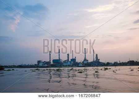 Oil Refinery Construction Plant Sunrise With River
