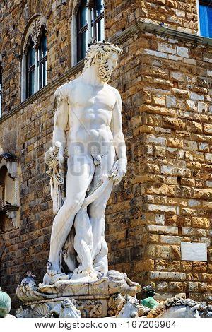 Statue Of The Neptune On The Piazza Della Signoria In Florence