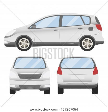 White Car Vector Template. Isolated Family Vehicle Set On White Background. Vector Illustration With