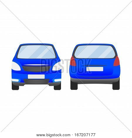 Blue Car Vector Template. Isolated Family Vehicle Set On White Background. Vector Illustration With