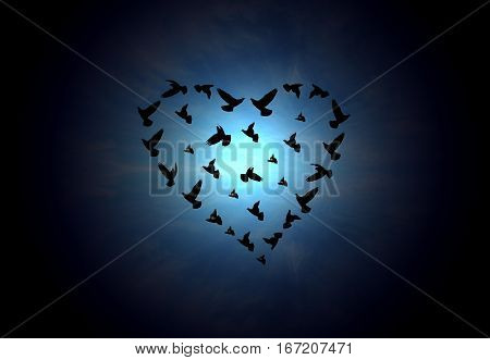 The Inscription Of The Heart Shape With Birds