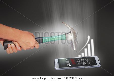 hammer smash phone and business concept in power of pressure to success of business