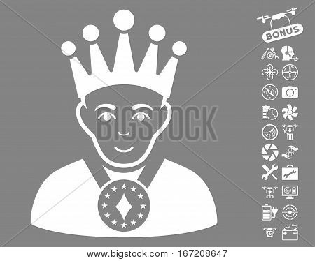 King icon with bonus flying drone tools pictures. Vector illustration style is flat iconic white symbols on gray background.