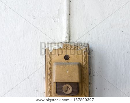 old doorbell on the white wall, doorbell