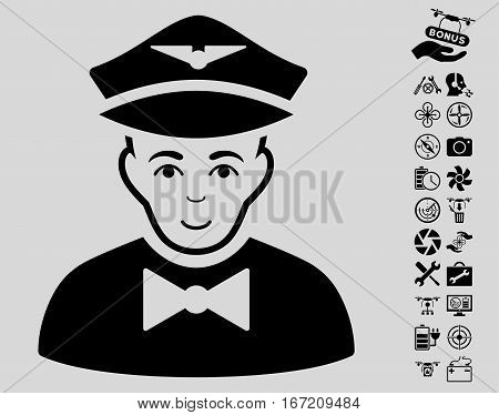 Airline Steward icon with bonus nanocopter tools graphic icons. Vector illustration style is flat iconic black symbols on light gray background.