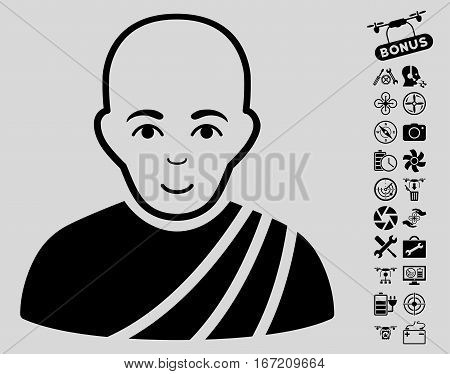Buddhist Monk pictograph with bonus quadrocopter tools pictures. Vector illustration style is flat iconic black symbols on light gray background.