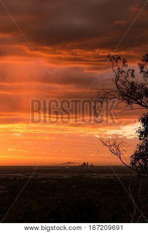 Red sunset over Perth city viewed from the hills in Kalamunda. Western Australia, Australia.
