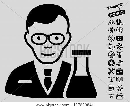 Chemist icon with bonus copter tools clip art. Vector illustration style is flat iconic black symbols on light gray background.