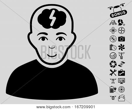 Clever Boy pictograph with bonus aircopter tools symbols. Vector illustration style is flat iconic black symbols on light gray background.