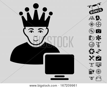 Computer Moderator pictograph with bonus aircopter tools pictograph collection. Vector illustration style is flat iconic black symbols on light gray background.