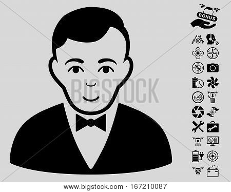 Dealer icon with bonus quad copter tools images. Vector illustration style is flat iconic black symbols on light gray background.