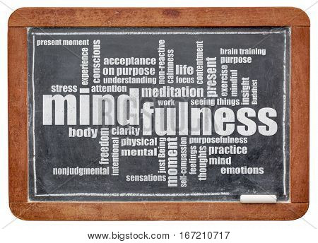 mindfulness word cloud in white chalk on a vintage slate blackboard isolated with a clipping path
