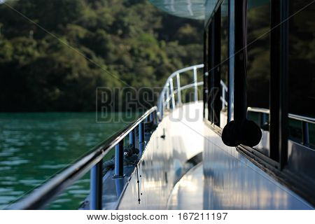 Lake cruising in the Sun Moon Lake, (Sun Moon Lake, Taiwan)