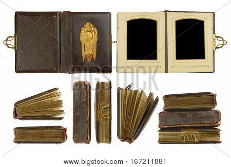 Different perspectives of vintage photo album circa 1900 with buckle and brass engraved decoration, isolated on white, contains working paths