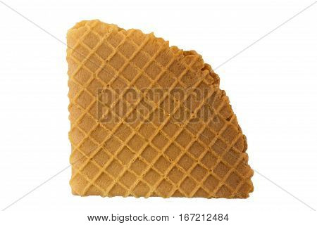 Crispy wafers on a white background isolated