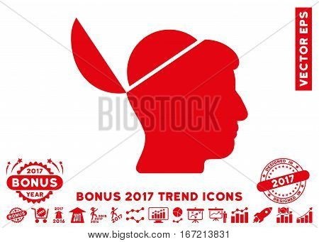 Red Open Brain pictogram with bonus 2017 year trend design elements. Vector illustration style is flat iconic symbols, white background.
