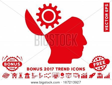 Red Open Head Gear pictograph with bonus 2017 year trend pictograms. Vector illustration style is flat iconic symbols, white background.
