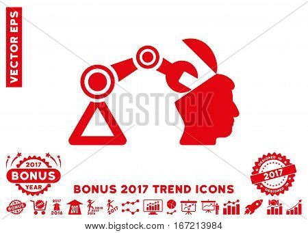 Red Open Head Surgery Manipulator icon with bonus 2017 year trend design elements. Vector illustration style is flat iconic symbols, white background.