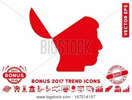Red Open Mind icon with bonus 2017 year trend symbols. Vector illustration style is flat iconic symbols, white background.