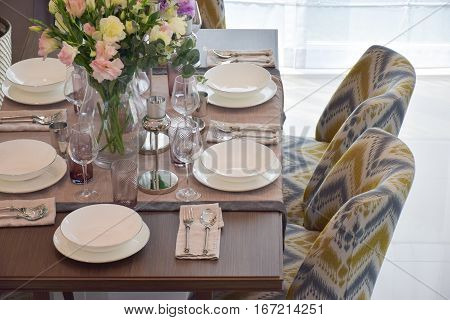 Elegance Dining Set With Classic Chair In Dining Room