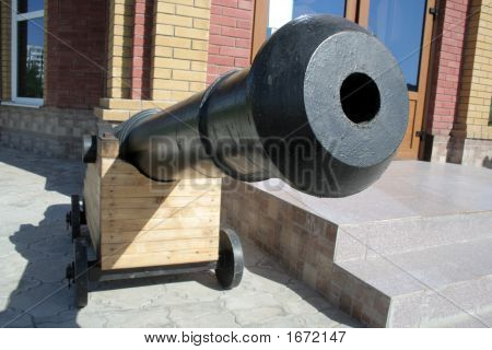 Ancient ship cannon beside of Theodore Ushakov church 2 poster