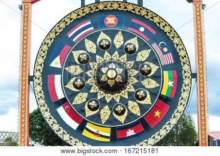 UBON RATCHATANI,THAILAND -JANUARY 17,2017 : Outdoor large Gong in Buddhism temple Wat Tham Khuha Sawan temple is located on a high cliff above the river Mekong ,Khong Chiam District , Ubon Ratchathani,Thailand.