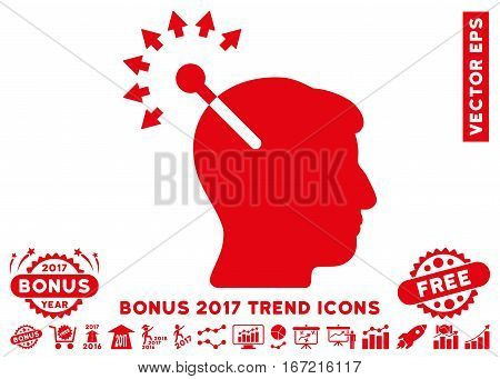 Red Optical Neural Interface pictogram with bonus 2017 trend icon set. Vector illustration style is flat iconic symbols, white background.