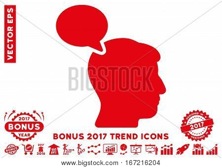 Red Person Opinion icon with bonus 2017 trend symbols. Vector illustration style is flat iconic symbols, white background.