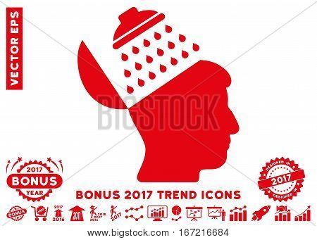 Red Propaganda Brain Shower icon with bonus 2017 year trend icon set. Vector illustration style is flat iconic symbols, white background.