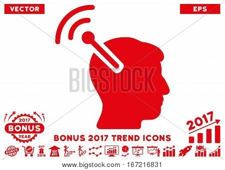 Red Radio Neural Interface pictogram with bonus 2017 year trend pictograms. Vector illustration style is flat iconic symbols, white background.