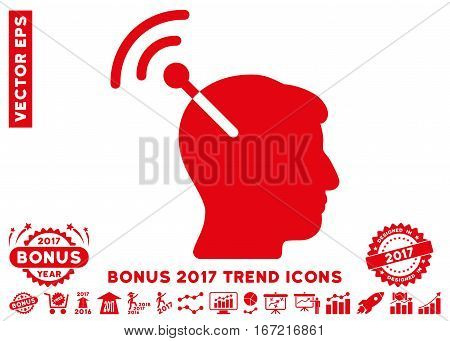 Red Radio Neural Interface pictograph with bonus 2017 trend clip art. Vector illustration style is flat iconic symbols, white background.