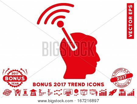 Red Radio Neural Interface icon with bonus 2017 trend pictures. Vector illustration style is flat iconic symbols, white background.