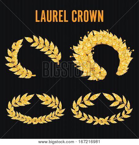 Laurel Crown Set. Greek Wreath With Golden Leaves. Vector Illustration