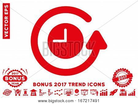 Red Restore Clock pictograph with bonus 2017 trend pictograph collection. Vector illustration style is flat iconic symbols, white background.