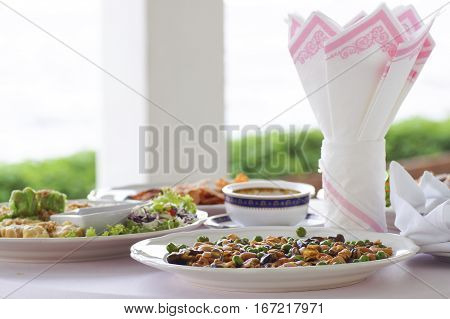 Broad bean fried on plate with Tissue and white cloth for appetizer food