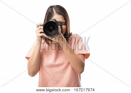 Cute Woman Taking Photos With Dslr
