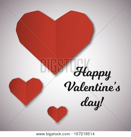 Red paper hearts Valentines day card. Stock vector illustration