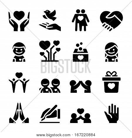 Donation & Charity icons set Vector illustration graphic design