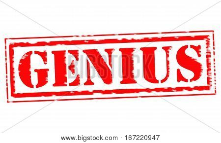 GENIUS Red Stamp Text on white backgroud